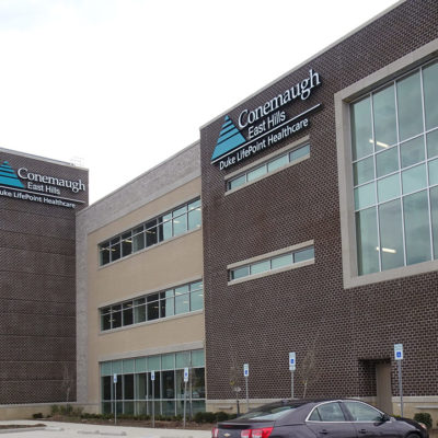 Example of exterior signage for healthcare building