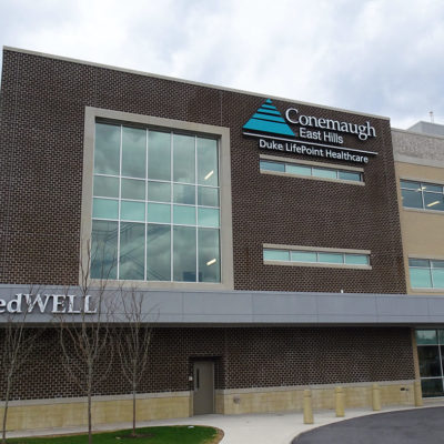 Example of exterior signage for a healthcare building