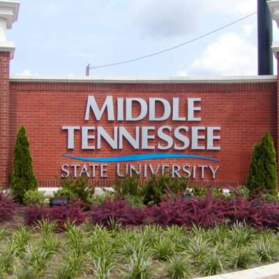 Exterior monument signage for university