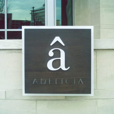 Example of exterior signage with cut letters