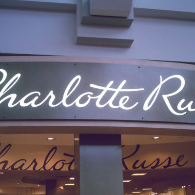 Exterior signage with illuminated letters