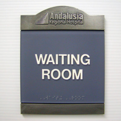 Example of interior waiting room sign