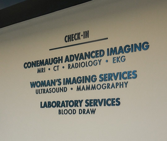Interior signage wall with cut letters