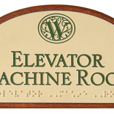 Example of an interior sign with braille