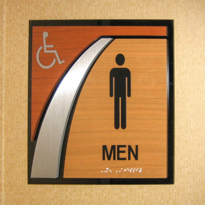 Interior signage for restroom sign