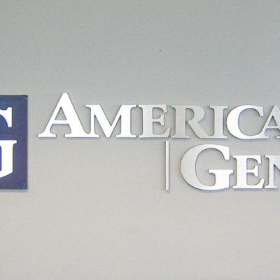 Reception wall logo interior signage