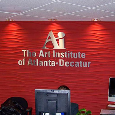 Reception wall logo interior signage