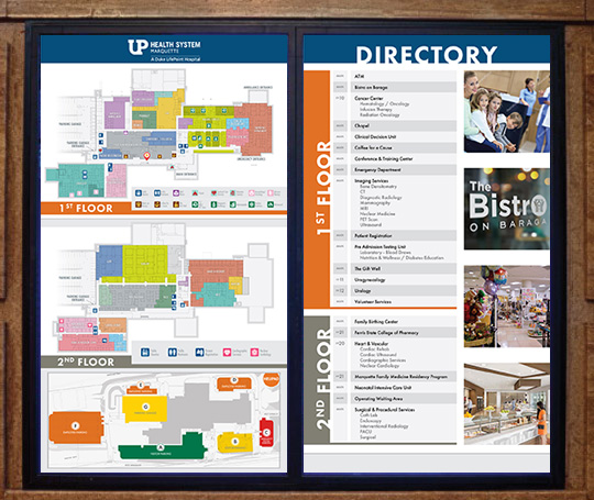 Interior signage electronic directory example