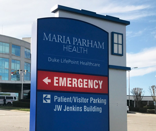 Example of exterior signage monument at a hospital