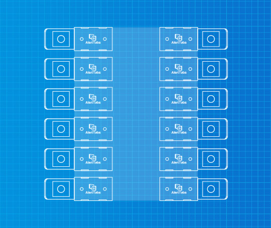 Example arrangement of AlertTabs in a rectangle